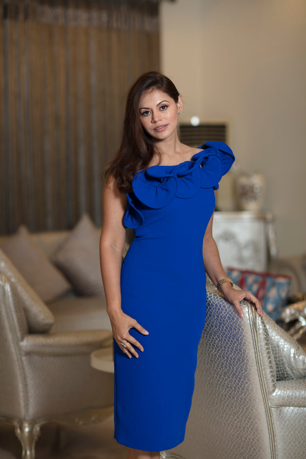 One shoulder Ruffled Sapphire blue dress
