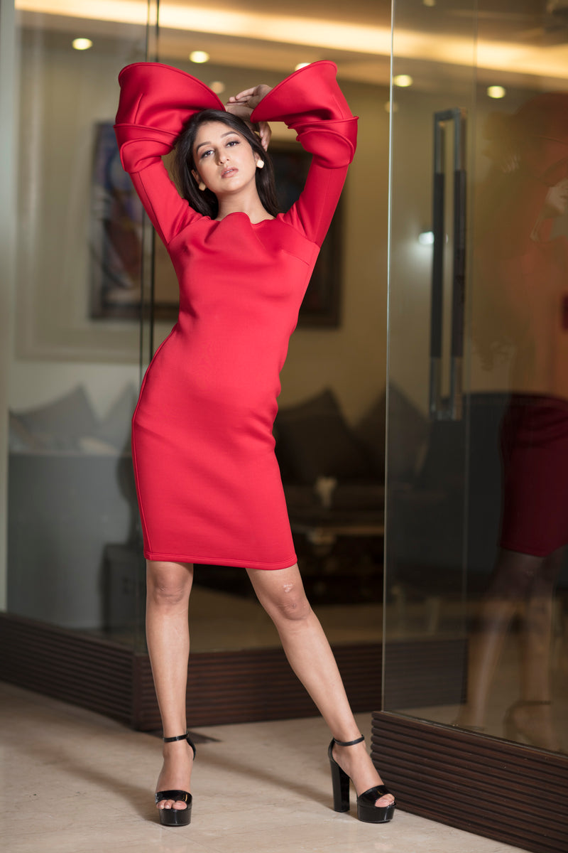 Bright Red Scuba Dress with bell sleeves