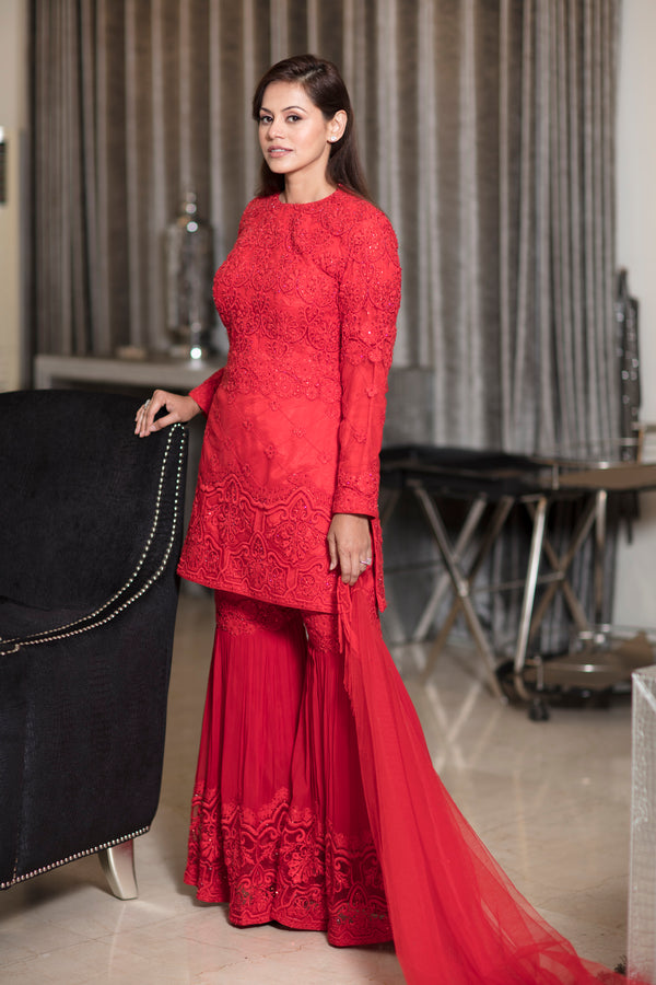 Jester red heavy embroidery sharara suit with short shirt