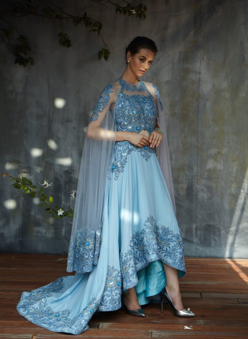 Powder Blue heavy embroidery cocktail gown with trail