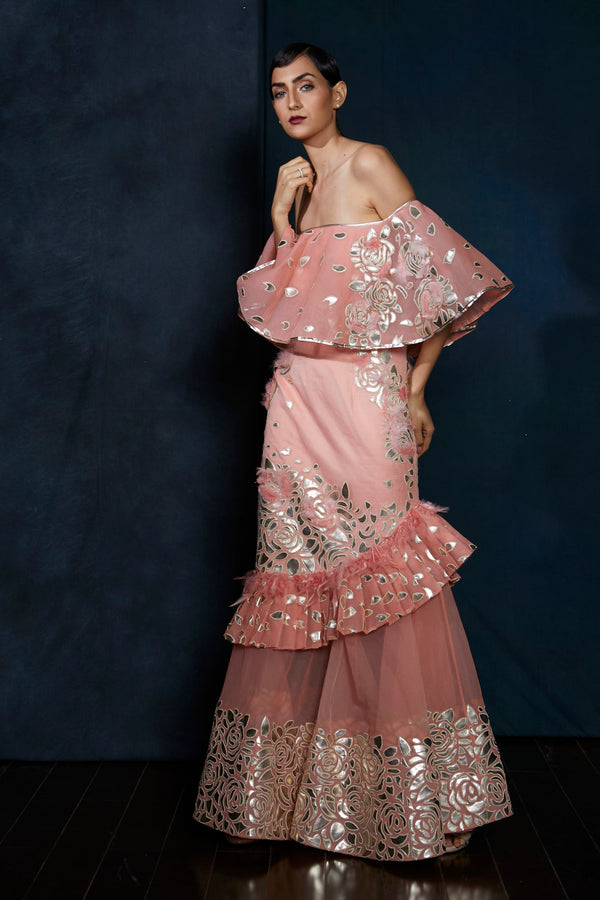 Rose pink handcut leather embroidery gown
