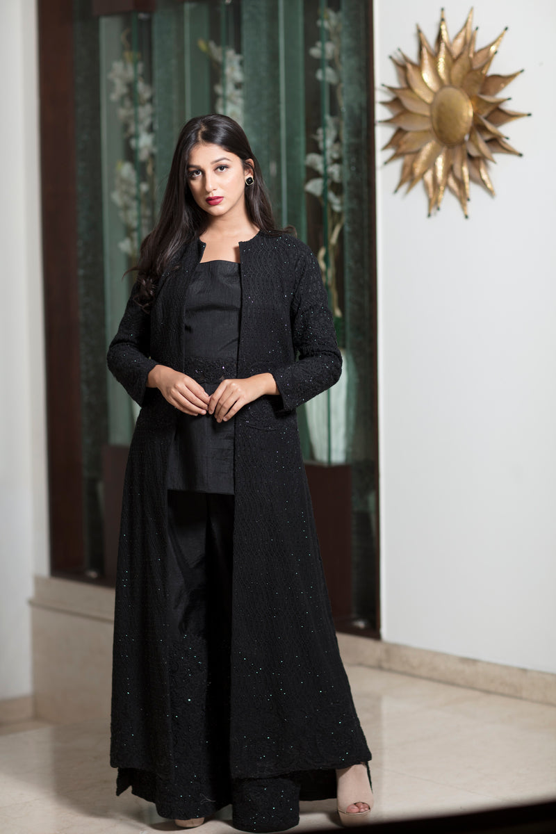 Heavy embroidery Black long jacket with top & pants