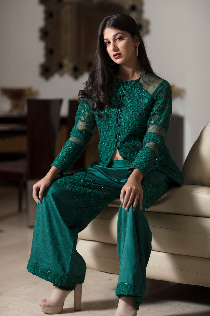Emerald green drape jacket with pants