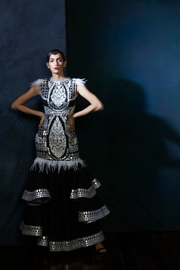 Black & silver handcut leather embroidery evening gown