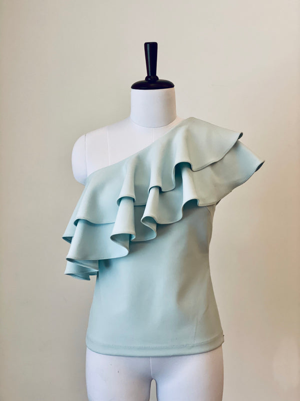 Powder Blue Ruffle Top