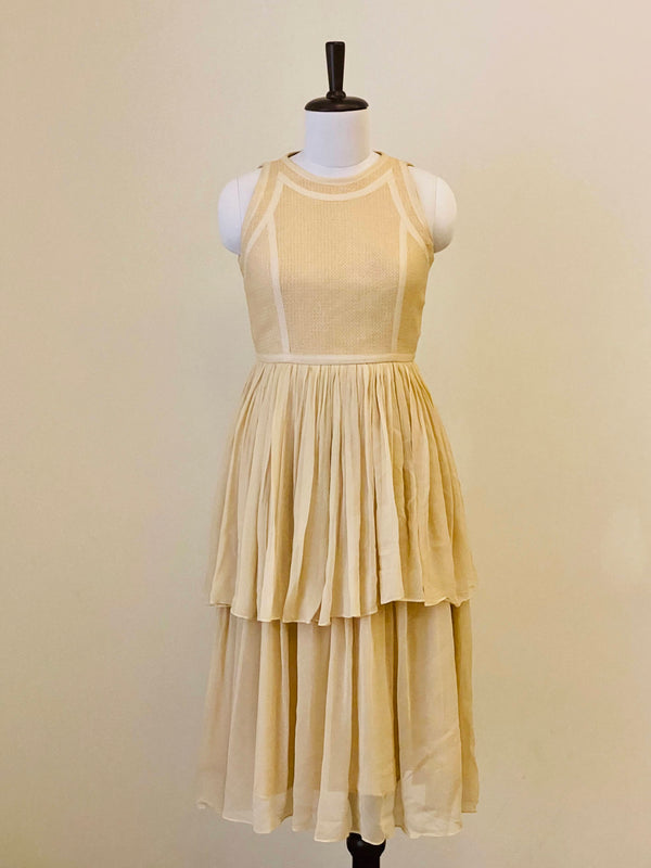 Soft Beige summer dress with textured yoke