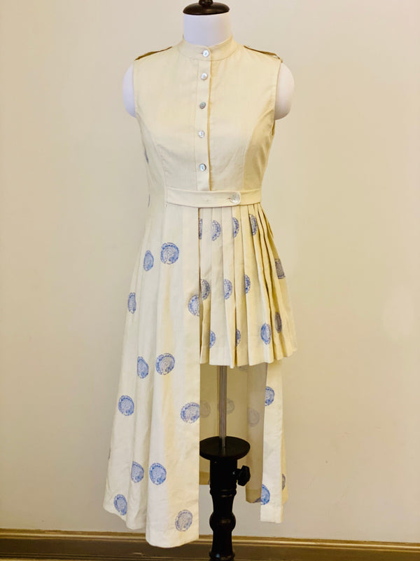 Cream White Assymetrical Pleated Dress