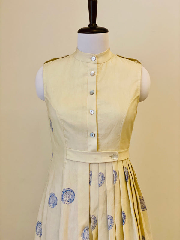 Cream White Asymetrical Pleated Dress