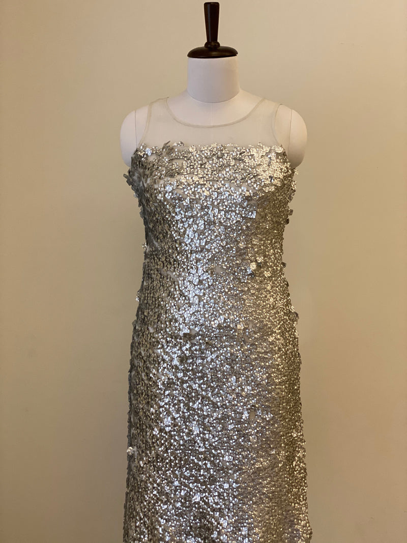 Silver Sequin Metallic Cocktail Dress