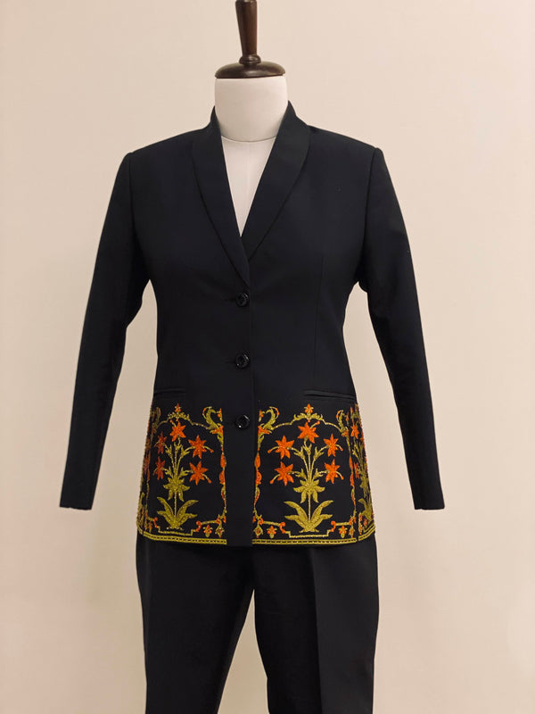 Black Co-ord set with floral embroidery