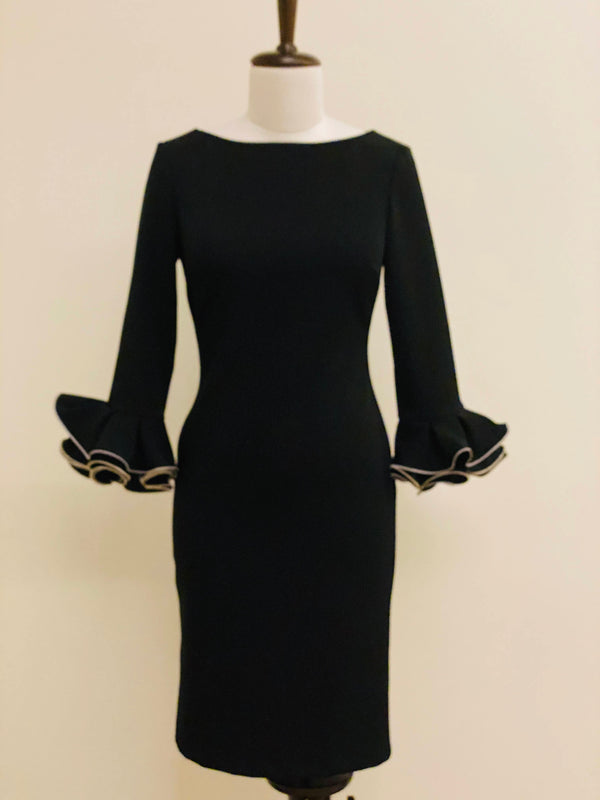 Black Pencil dress with ruffle sleeves