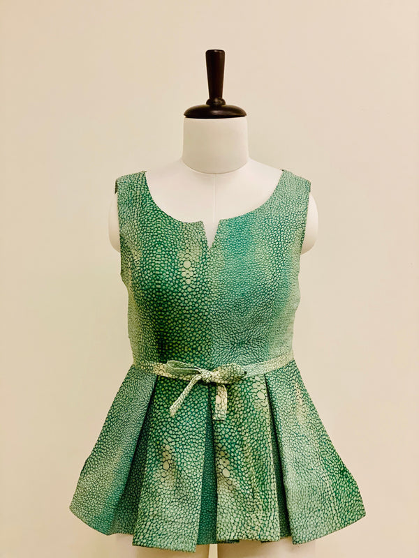 Green Printed Peplum Top