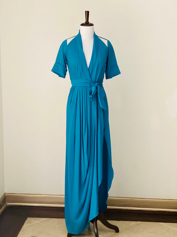 Teal Blue Wrap Dress