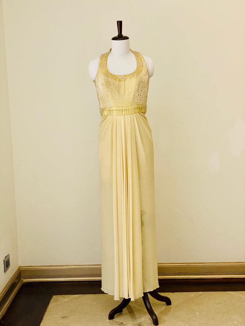 Ivory and Gold halter neck gown
