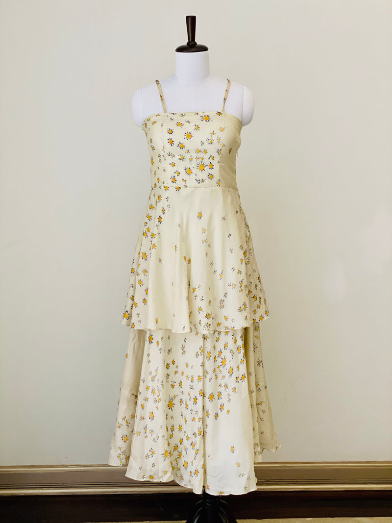 Cream White Floral Maxi dress