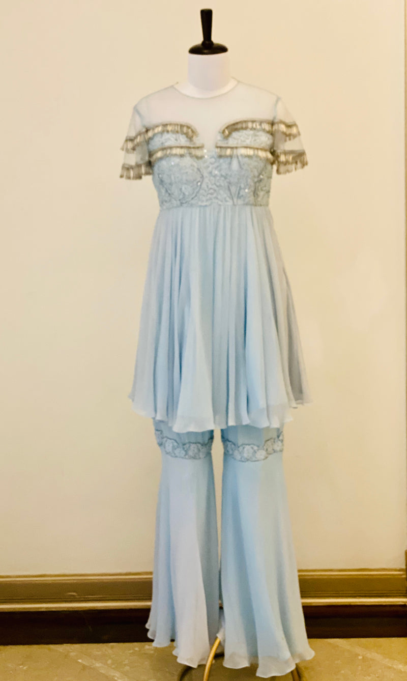 Powder Blue Gharara Suit with tassels and Palazzos