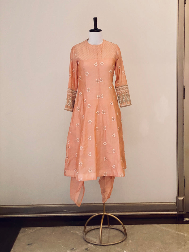 Peach Booti Embroided Chanderi long suit with Dhoti Pants
