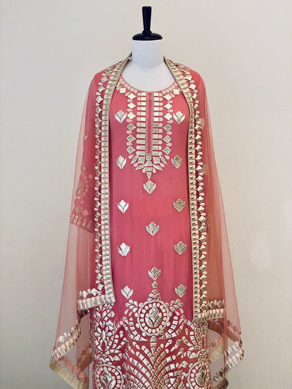Rose Pink Georgette Suit with leather embroidery and Dupatta