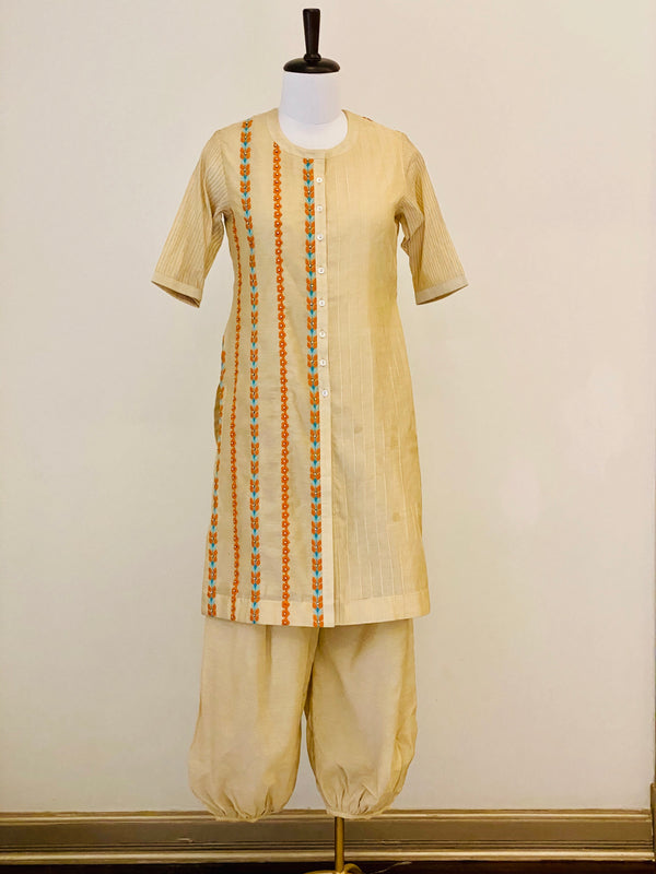 Beige embroided Chanderi kurta with Harem Pants