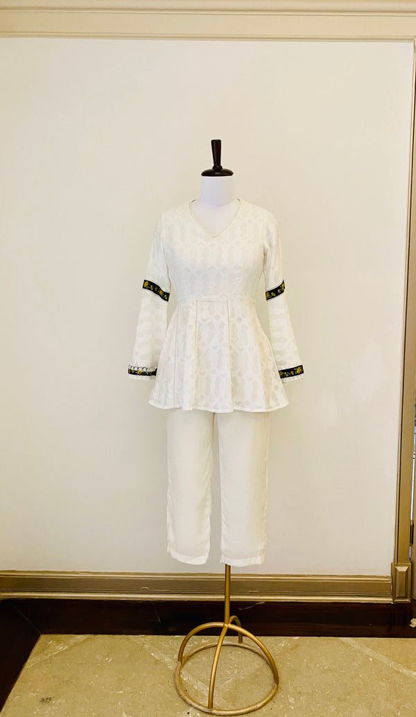 Off-White self texture cotton Peplum Top with embroidery details