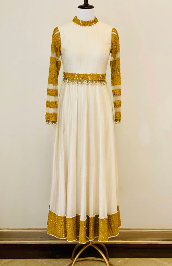 Ivory Chanderi Anarkali with mustard thread work and belt