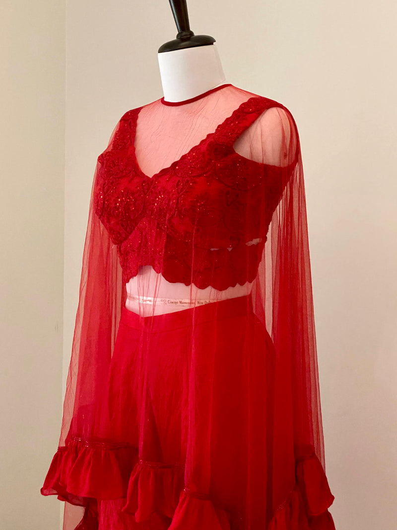 Red tone on tone embroided Blouse with Crushed Pants and a net cape