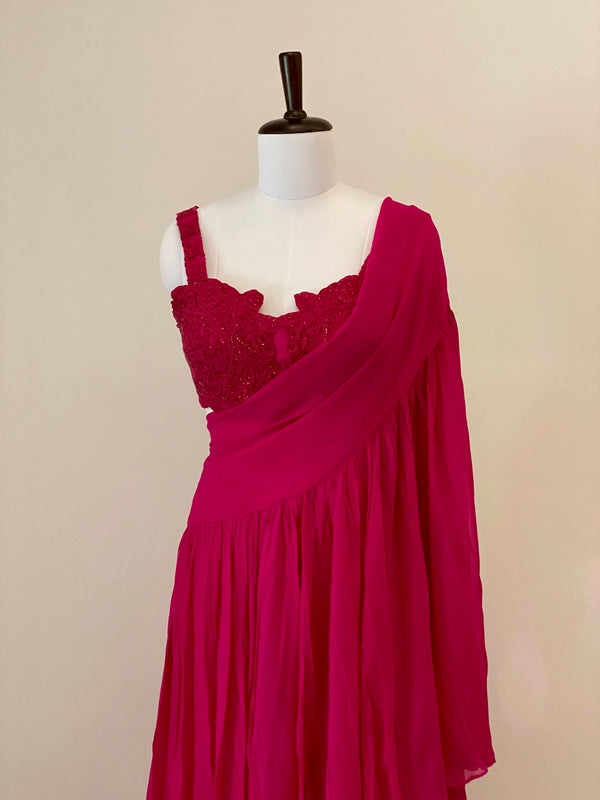 Fuschia Pink embroided Blouse with drape dupatta and Pants