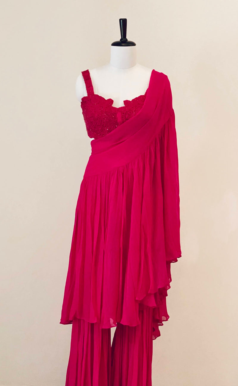 Fuchsia Pink Embroidered Blouse With Drape Dupatta And Pants