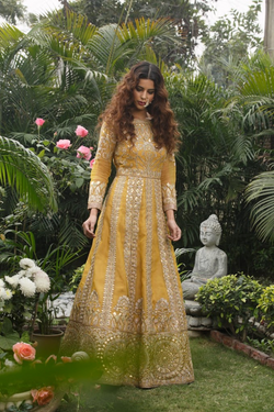 Mustard and gold heavy embroidered mughal gown