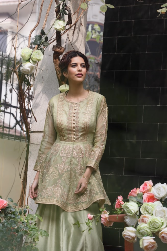 Sage Green peplum kurta with sharara