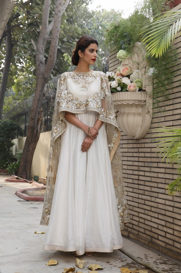 Ivory floor length anarkali gold cape