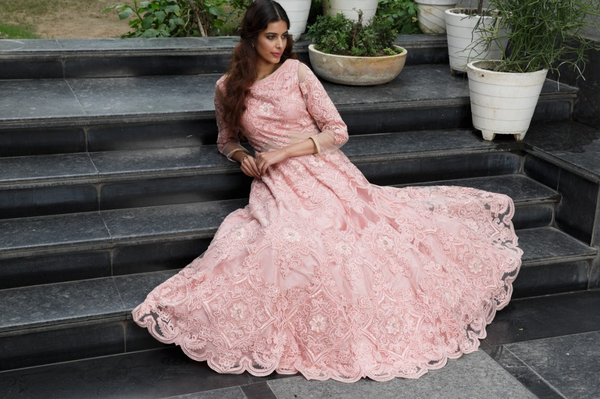 Rose pink heavy dori embroidery gown