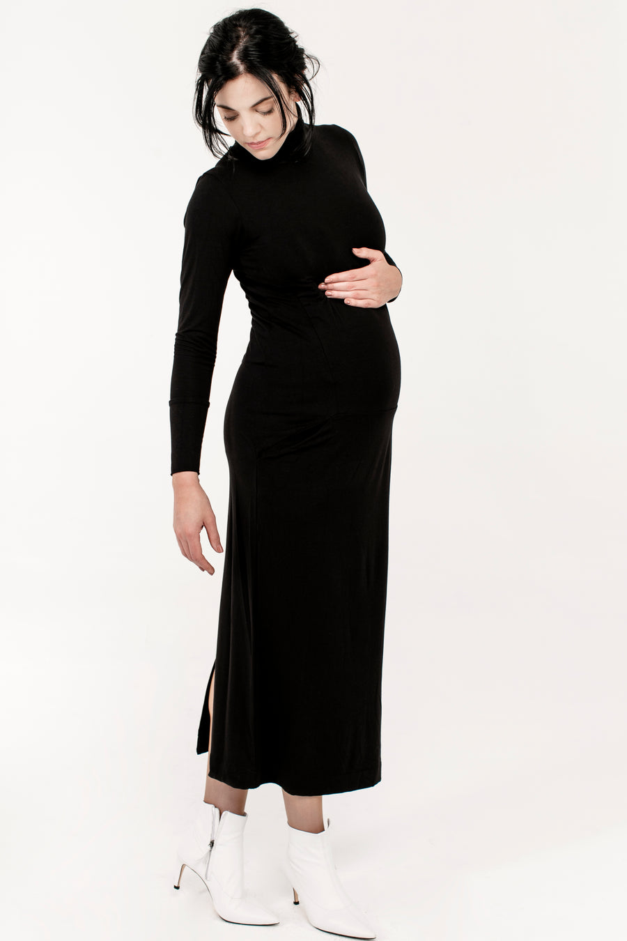 Long Poloneck Nursing Dress - JLMaternity