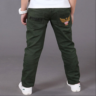 Spring Solid Cotton Mid Elastic Waist Pants-3kstyle
