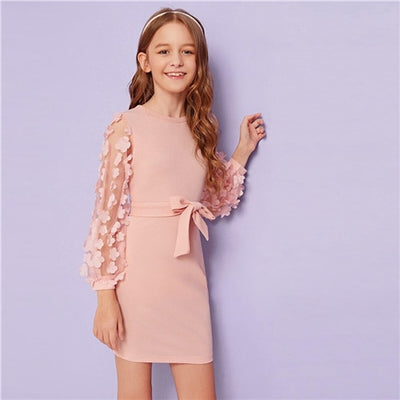 Appliques Sleeve Cute Dress