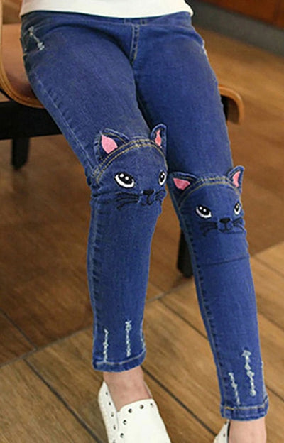 Cute Kid Girl Embroidery Cat Jeans
