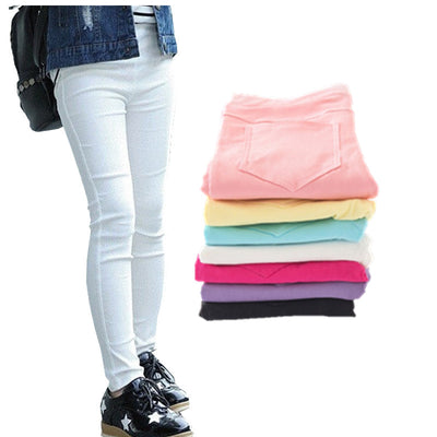 Candy Color Elastic Pencil Pants