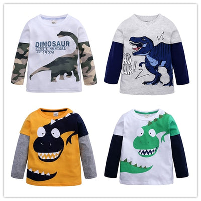 Cartoon Dinosaur Boys Long Sleeve T Shirt-3kstyle