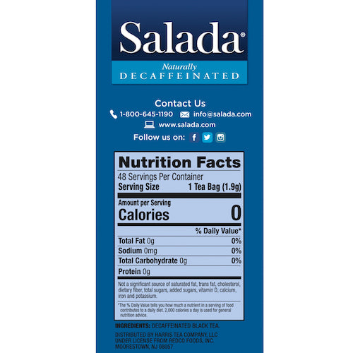 Salada Naturally Decaffeinated Black Tea 48ct