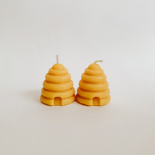 Load image into Gallery viewer, two golden beehive candles