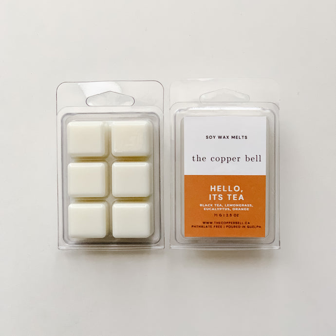 6 cavity soy wax melts in black tea, lemongrass, eucalyptus and orange scent. the scent name is hello, it's tea