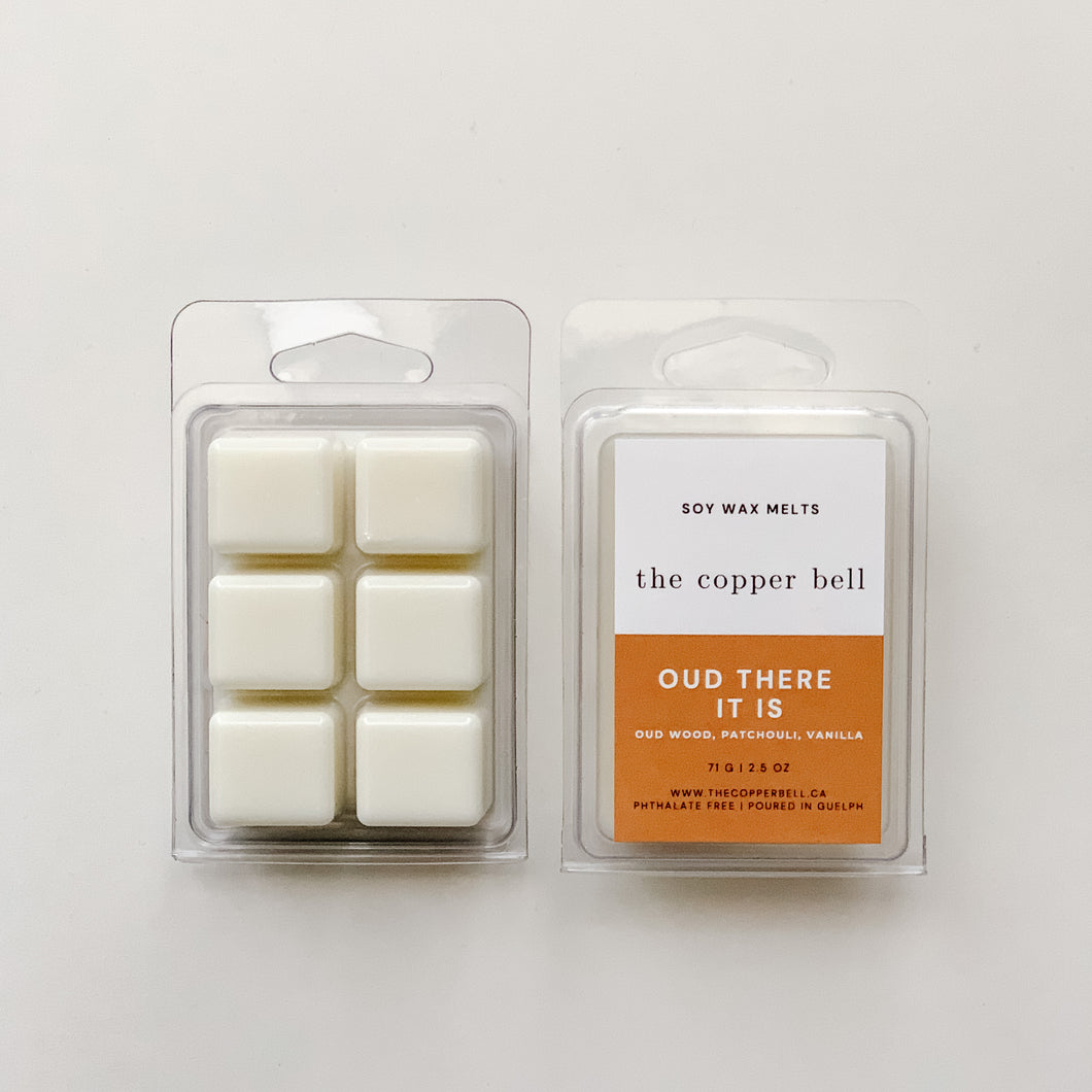 scented soy wax melts named oud there it is. the scent is oud wood, patchouli and vanilla