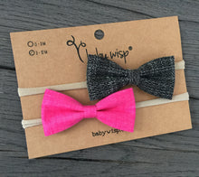 Load image into Gallery viewer, Baby Wisp - Fabric Tuxedo Bow Headband - Black Fuschia (3-12 months)
