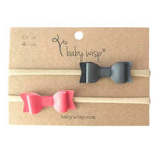 Load image into Gallery viewer, Baby Wisp - Headband 2 Pack - Mia Leather Bows- Charcoal & Coral (3-12 months)