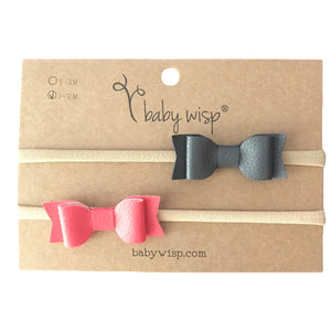 Baby Wisp - Headband 2 Pack - Mia Leather Bows- Charcoal & Coral (3-12 months)