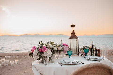 beach wedding in Bali with full decoration