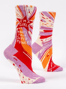 I'm A Girl, What's Your Superpower? Women's Crew Socks