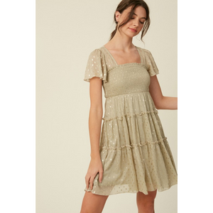 Foil Detail Swing Dress