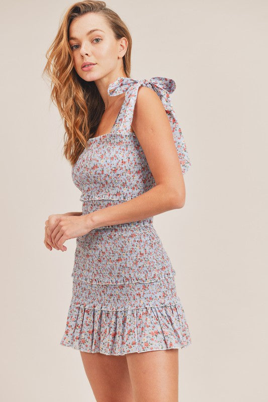 Smocked Floral Tie Strap Dress