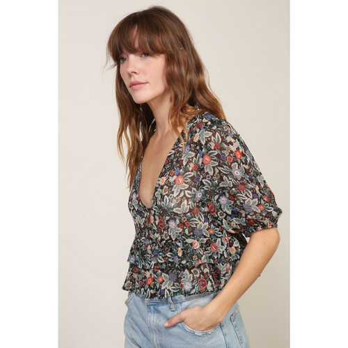 Cropped Sheer Floral Blouse